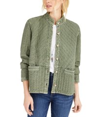 lucky brand quilted button-front jacket