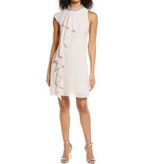 vince camuto beaded ruffle sleeveless dress, size 2 in champagne at nordstrom