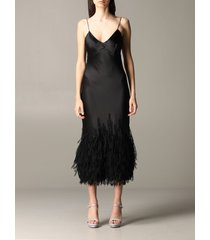 ermanno scervino dress ermanno scervino silk dress with feathers