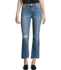 le distressed asymmetric hem jeans