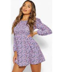 petite gesmokte bloemenprint jurk met opgestroopte mouwen, purple
