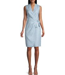 rebecca taylor women's wrap-front twill dress - washed blue - size 0