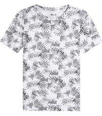 camiseta m/c estampado hojas color blanco, talla m