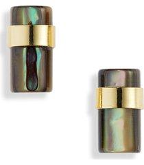 women's halogen abalone cylinder stud earrings