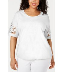 charter club plus size cotton mesh-applique top, created for macy's