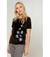 camiseta para mujer manga corta en velvet en color negro negro 16