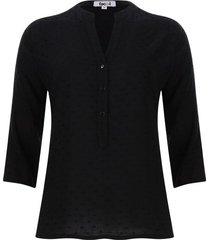 blusa manga 3/4 unicolor color negro, talla l