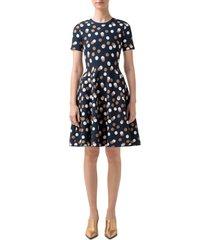 women's akris punto gold leaf dot knit fit & flare dress, size 14 - blue