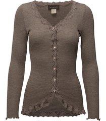 silk cardigan ls w/ lace gebreide trui cardigan beige rosemunde