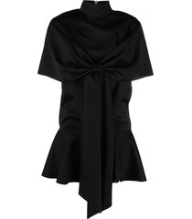 atu body couture oversized bow-detail dress - black