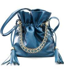 bolsa feminina maria verônica saco com corrente couro azul