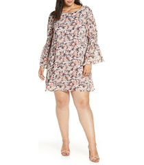 plus size women's bobeau jude flare sleeve shift dress