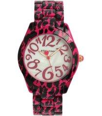 betsey johnson women's cheetah pink stainless steel watch 40mm