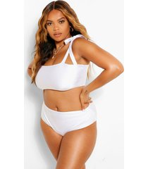 plus bow high waist bikini set, white
