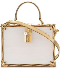 dolce & gabbana dolce box mother-of-pearl handbag - white