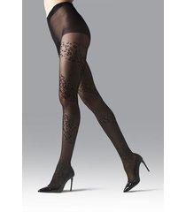 natori leopard mix sheer tights, women's, black, size l natori
