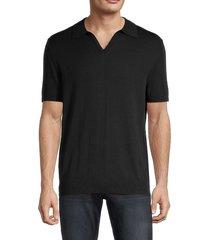 saks fifth avenue men's johnny short-sleeve polo sweater - black - size xl