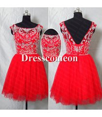2014 ball gown scoop sleeveless red short/mini prom/formal /cocktail dress