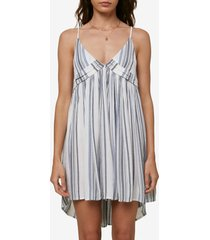 o'neill saltwater solids stripe cover-up tank dress, size small in blue mirage at nordstrom