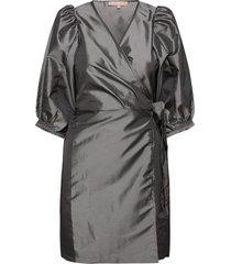 srmiley wrap dress kort klänning grå soft rebels