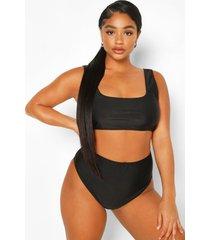 plus mix & match cheeky bum bikini brief, black