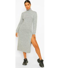 gebreide jurk met zijsplit en col, grey