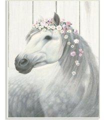 "stupell industries spirit stallion horse with flower crown wall plaque art, 10"" x 15"""