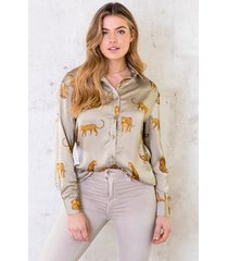 limited leopard blouse silk olive