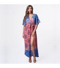 vestido de playa con cuello de pico para mujer - azul