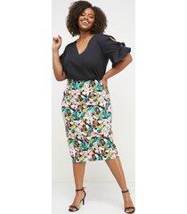 lane bryant women's printed scuba midi pencil skirt 16 sketched tropical print