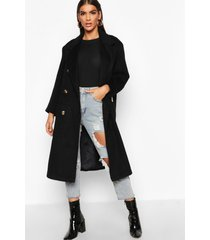 brushed double breasted belted wool look coat, black