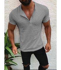 botón de los hombres diseño half cardigans manga corta delgado fit casual t-shirt