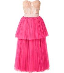 dolce & gabbana strapless bustier tiered dress - pink