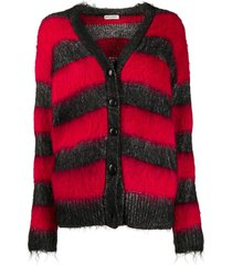 red and black striped lurex cardigan