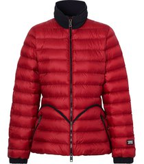 burberry packaway hood peplum puffer jacket - red