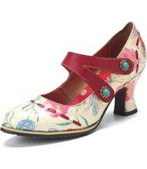 socofy cinturino alla caviglia comodo da indossare in pelle stampata floreale fresca biforcato gancio décolleté mary jan