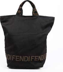 fendi 1925 black brown nylon tote bag black/brown/logo sz: m