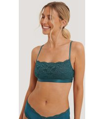 na-kd lingerie bandeau lace bra - turquoise