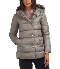 women's barbour lossie hooded puffer jacket, size 10 us - grey