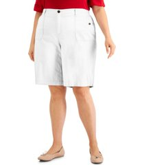 karen scott plus size top-stitched shorts, created for macy's