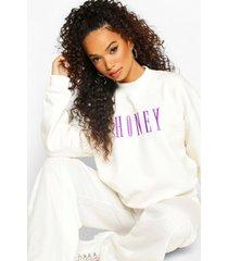 petite geborduurde 'honey' sweater met tekst, ivory