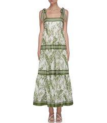 'empire' stripe tie shoulder contrast botanical print dress