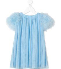 charabia fluffy sleeves tulle dress - blue