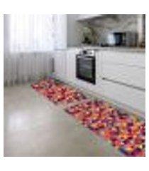 kit tapete de cozinha 2 peças triângulos multi colorido único