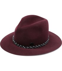 maison michel braided-detail fedora hat - red