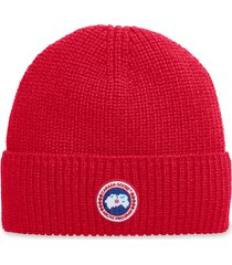 men's canada goose arctic disc ribbed toque beanie - red