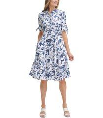 calvin klein tie-sleeve midi dress