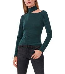 1.state asymmetrical shoulder knit crepe top
