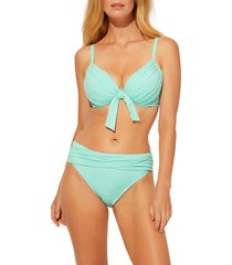 women's bleu by rod beattie urban goddess tie front underwire bikini top, size 40d - green