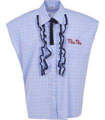 miu miu logo sleeveless detail shirt